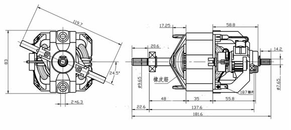 所有电机  产品型号:hc9535 产品详情:大功率电机为单相 串激电机,串